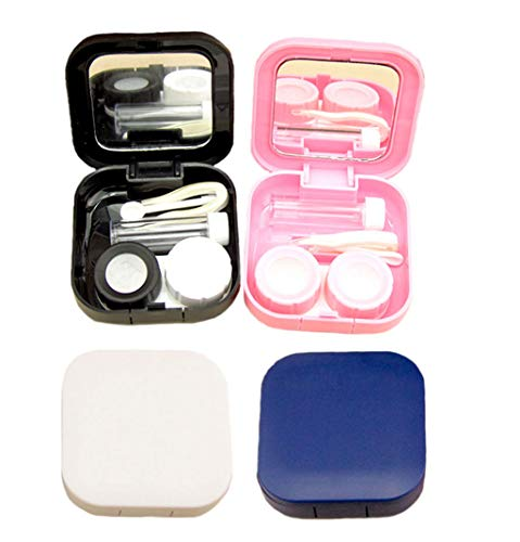 KISEER 4 Pcs Mini Contact Lens Case Travel Kit Contact Lens Box Holder Soak Storage Container with Mirror Bottle Tweezers Stick Remover Tool