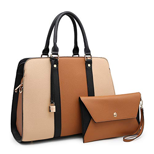 Lightweight Large Capacity Women Handbag, Medium Top Handle Satchel Multi Pockets Designer handbags Purse Tote Bags for Women (XL-E-7999-BR/BG)