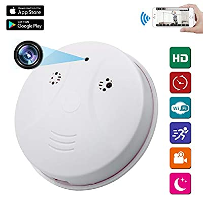Spy Camera Wireless Hidden ZXWDDP HD 1080P Nanny Cam Baby Pet Monitor WiFi Smoke Detector Camera Motion Detection/Loop Recording/Indoor Security Monitoring Camera Support iOS/Android/PC/Mac from ZXWDDP