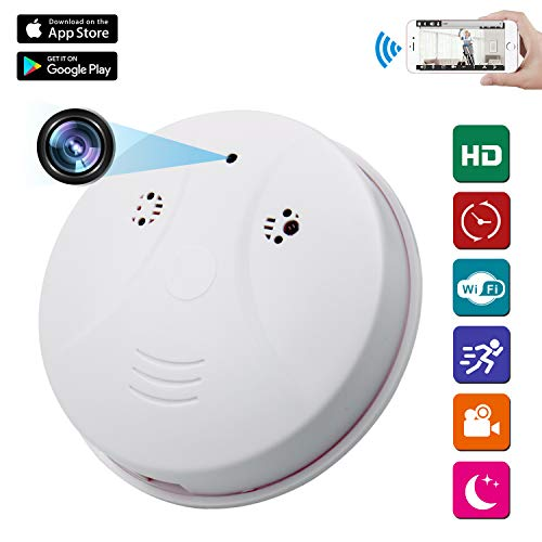 Spy Camera Wireless Hidden ZXWDDP HD 1080P Nanny Cam Baby Pet Monitor WiFi Smoke Detector Camera Motion Detection/Loop Recording/Indoor Security Monitoring Camera Support iOS/Android/PC/Mac