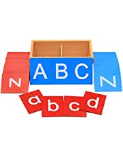 SunniMix Kinderen Voorschoolse Schuurpapier ABC Kaart Alfabet Vroeg Onderwijs Schrijven Spelling Woord Brief Cognitie Training Montessori Speelgoed
