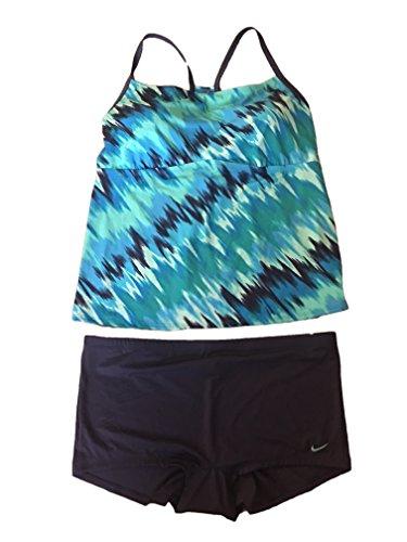 NIKE Womens Tankini Top and Shorts - 2 Piece Plus Size (Light Blue Fury, 3X) (Piece Nike 2 Swimsuit)