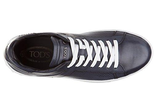 Tods Zapatos Zapatillas de Deporte Hombres EN Piel Nuevo etichetta cassetta Blu