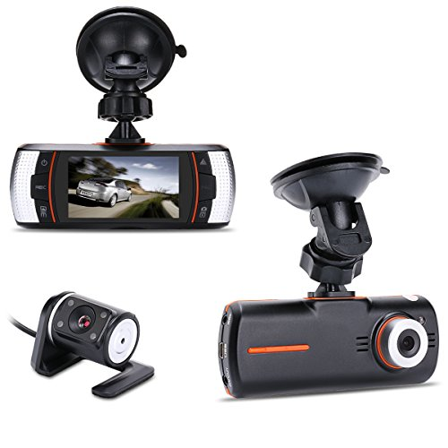 Accfly 2.7 inch LCD FULL HD 1080P 140° Wide Angle Portable Car Camcorder Vehicle Rear Camera DVR with Dual Lens G-sensor