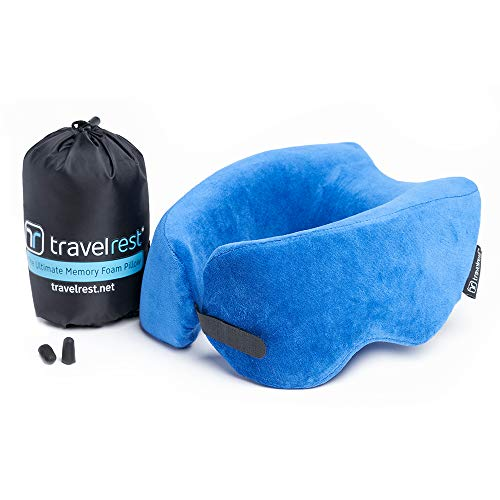 Travelrest Ultimate Memory Foam Travel Pillow/Neck Pillow - Therapeutic, Ergonomic & Patented - Washable Cover - Most Comfortable Neck Pillow - Compresses to 1/4 of its Size (2 Year Warranty) (Blue) ()
