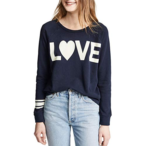Valentine's Day Lover Shirt Fashion Women Casual Long Sleeve Round Neck Love Letter Printed Loose Sweater Tops