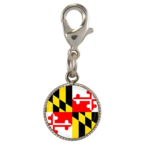 Maryland US State Flag Silver Plated Clip on -