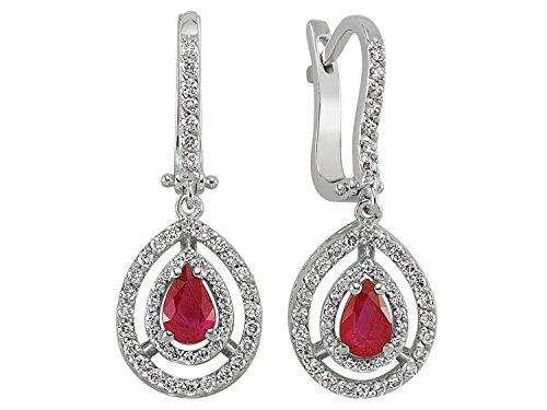 Boucles d'Oreilles Rubis et Diamants-Femme- or Blanc 217E0017
