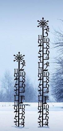 Iron 3 Ft Christmas Holiday Snowflake Snowfall Measuring Gauge Black Metal