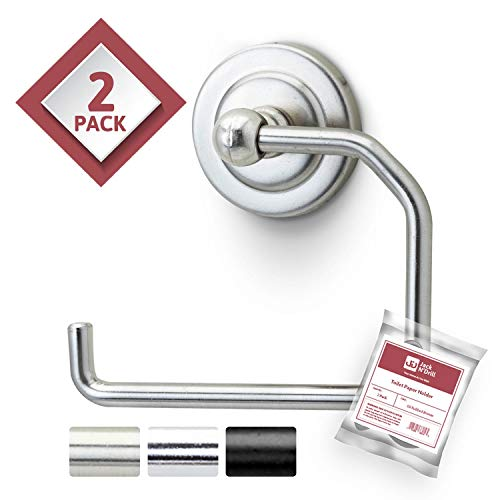 Jack N' Drill Toilet Paper Holder 2-Pack Bathroom Fixture and Organizer in Brushed Nickel Bathroom Accessories, Open Arm with Wall Mounted Base Fits Most Paper Towels and Toilet Paper Roll