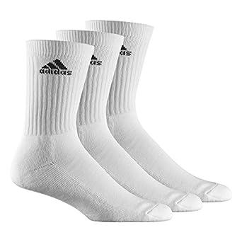 3 PACK - Adidas Sports Socks - White - Mens & Womens (S (UK