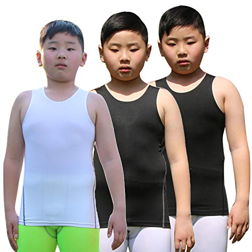 Youth Boys' Compression Vest Athletic Sleeveless Undershirt Cool Dry Tank Top ()