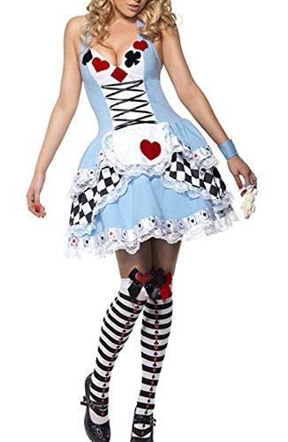 Moonight Women's Alice in Wonder Poker Queen Halloween Cosplay Costume Dress (XL, Blue) ()