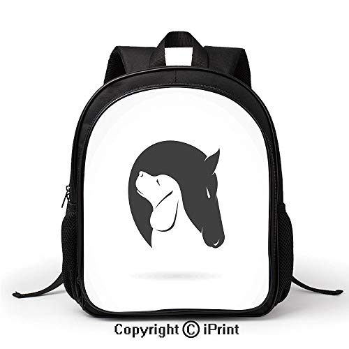 Boy Girl School Bag Contemporary Illustration of a Dog and Horse Hugging Loyal Friend Icon Heads Artsy Print Backpack :Suitable for Men and Women,School,Travel,Daily use,etc,Black White ()
