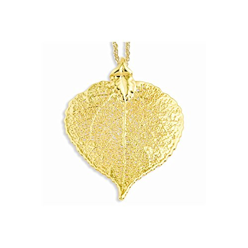 24k Gold Dipped Aspen Leaf w/ Gold-plated Chain Length 20""