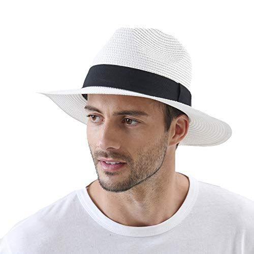 WITHMOONS Fedora Panama Hat Black Banded Wide Brim Cool Summer SL6690 (White)