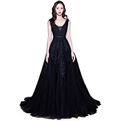 Babyonlinedress Women's Double V-Neck Lace Applique Tulle Wedding Gown Dresses (Black,12)