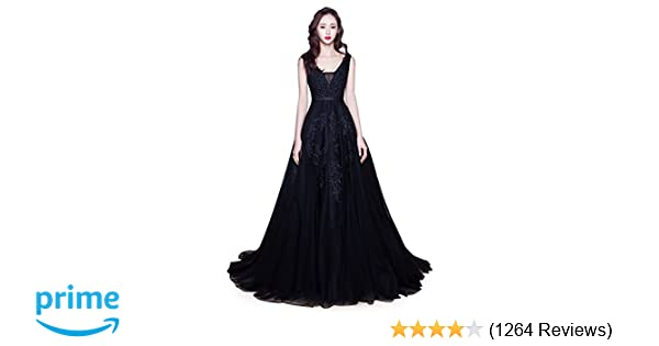 9525f18311910 Babyonline Women's Double V-Neck Tulle Appliques Long Evening Cocktail Gowns