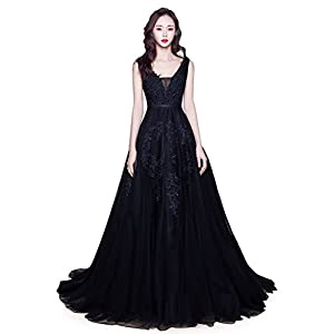 dc6bf672c00b Babyonline Women s Double V-Neck Tulle Appliques Long Evening Cocktail Gowns  ...