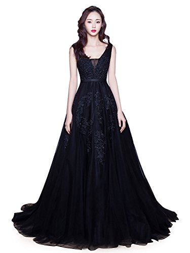 Women's Double V-Neck Sleeveless Lace Wedding Dress Evening Dress (Black,14)