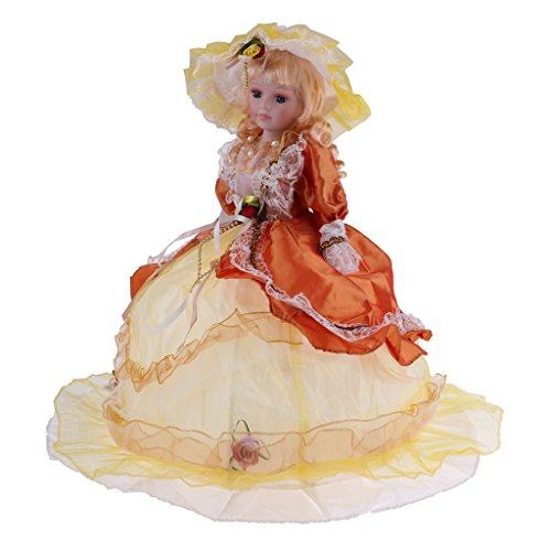 D DOLITY 18 Inch Retro Porcelain Victoria Doll Standing Ceramics Dolls Kids Toy Yellow