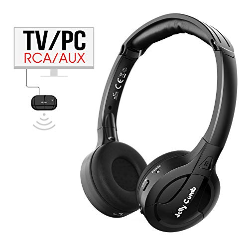 Wireless TV Headphones, Jelly Comb RF Wireless Headphones for TV Watching with Transmitter (3.5mm AUX, RCA, NO Optical) for TV, Cellphone, Laptop, PC
