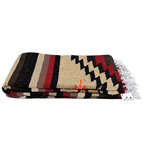 (Open Road Goods Aztec Navajo Style Blanket, Throw, or Yoga Bolster - Handwoven Mexican Diamond Blanket - Brown)