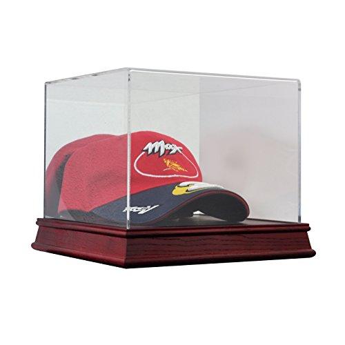 Deluxe Acrylic Wood Base Baseball Cap Hat Display Case w/ Mirror Back