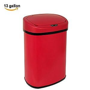 Amazon.com: 13-Gallon Touch Free Sensor Automatic Trash Can Red ...