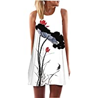 SRYS 2017 Summer Vintage Boho Women Summer Sleeveless Beach Printed Short Mini Dress