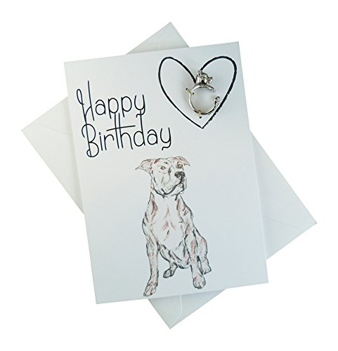 Pit Bull Birthday Card with Ring Keepsake Jewelry – Birthday card with Pit Bull dog gift – Handmade Card With Sketch Art Decor