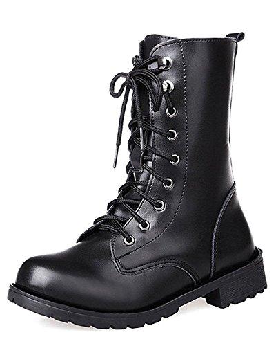 Boots Autunno Caldo Peluche Snow Donna Stivali Lace Tomwell Inverno Classico Nero Neve Antiscivolo Up Cavaliere HngvfA