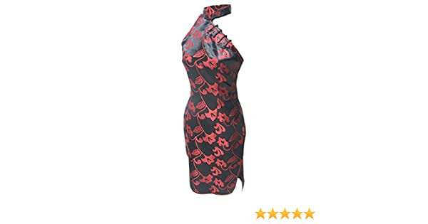a1637e5f8162 Amazon.com: 7Fairy Women's Black/Red Halter Floral Mini Chinese Dress  Cheongsam: Clothing