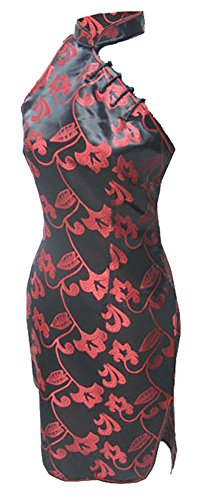 7Fairy Women's Black/Red Halter Floral Mini Chinese Dress Cheongsam Size 6 US