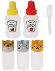 PSOAIN 5 Pack Mini Condiment Bottle Cute Animal Cap Empty Plastic Empty Squeeze Bottle Leakproof Tomato Ketchup Honey Salad Dressing Container for Bento Box,25ml&3ml