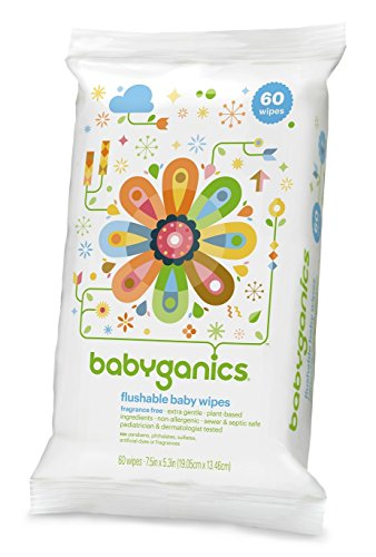 Babyganics Flushable Baby Wipes, Fragrance Free, 60 Count (Pack of 3, 180 Total Wipes) by Babyganics