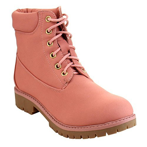 BELLAMARIE DENVER-18 Women's Classic Round Toe Lace Up Stitching Short Boots, Color:PINK, Size:7