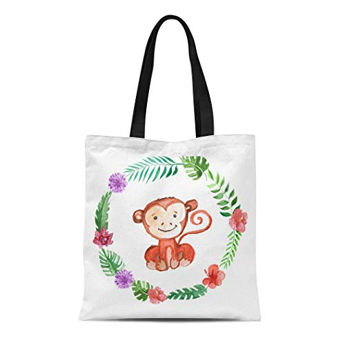 Tinmun Canvas Tote Bag Reusable Green Cute Baby Monkey for sale  Delivered anywhere in USA