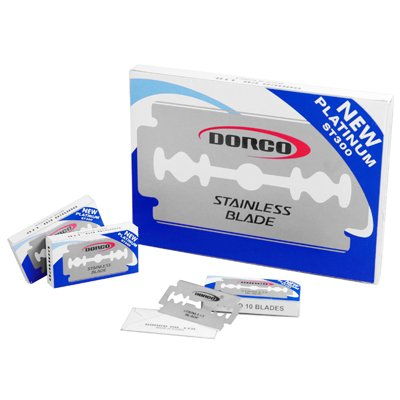 Personal Dorco New Platinum ST300 Double Edge Wet Shaving Standard Replacement Straight Safety Razor Blades x 100 Pcs. Box