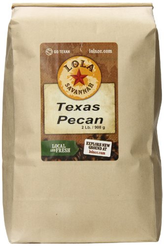 Lola Savannah Texas Pecan Ground Coffee - Arabica Beans Brimming with Roasted Pecan Flavor | Caffeinated | 2lb -