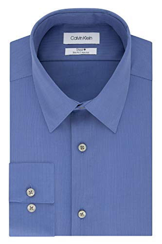 Calvin Klein Men's Dress Shirt Slim Fit Non Iron Solid, Viola, 15.5