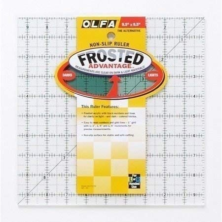 Olfa Frosted Ruler The Alternative 9 1/2 inch x 9 1/2 inch QR9S (1-Pack)