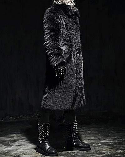 Fourrure Pour Chaud En Hiver Veste Fausse Noir Manteau Long Blouson Homme 8pa0wqtq
