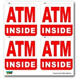 ATM Machine Inside SET of 4 - Business Sign - Window Bumper Laptop Stickers