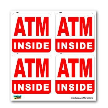 ATM Machine Inside SET of 4 - Business Sign - Window Bumper Laptop Stickers