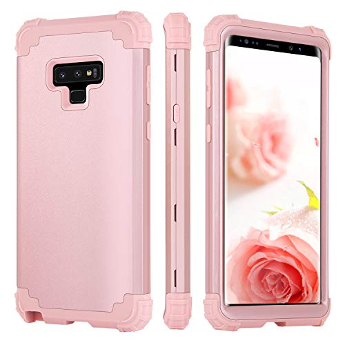 BENTOBEN Galaxy Note 9 Case Protective 3 in 1 Hybrid Hard PC Back Cover Soft Silicone Bumper Heavy Duty Rugged Shockproof Anti Slip Full Body Phone Cases for Samsung Galaxy Note 9 Rose Gold