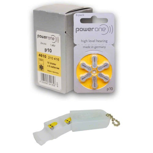 PowerOne Hearing Aid Batteries Size 10, PR70 (60 Batteries) + Battery Keychain Kit