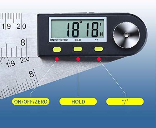 Ajcoflt 0-200mm Display LCD digitale multifunzione Righello angolare Goniometro elettronico a 360 /° Strumento di misurazione del goniometro con funzione di tenuta e azzeramento