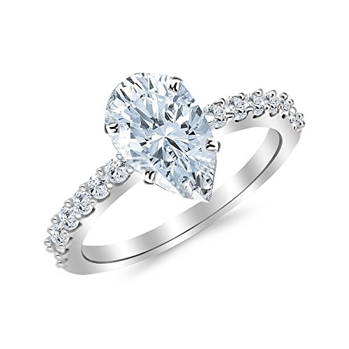 Gold Classic Prong - 2.43 Ctw 14K White Gold Classic Prong Set Engagement Ring w/ Pear 2 Carat Forever One Moissanite Center