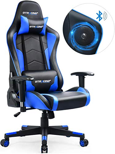 GTRACING Gaming Chair with Bluetooth Speakers Music Video Game Chair Audio Connect Mobile PC PS4Patented Design Heavy Duty Ergonomic Office Computer Desk Chair GT890M Blue